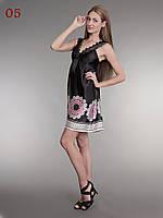 Сарафан летний атласный черный с розовым, фото 1
