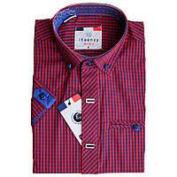 Рубашка для мальчика Ikeenzy короткий рукав приталенная красная в клетку на кнопках