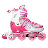 Роликовые коньки раздвижные Profi A16106-2 размер 39-42 Розовые