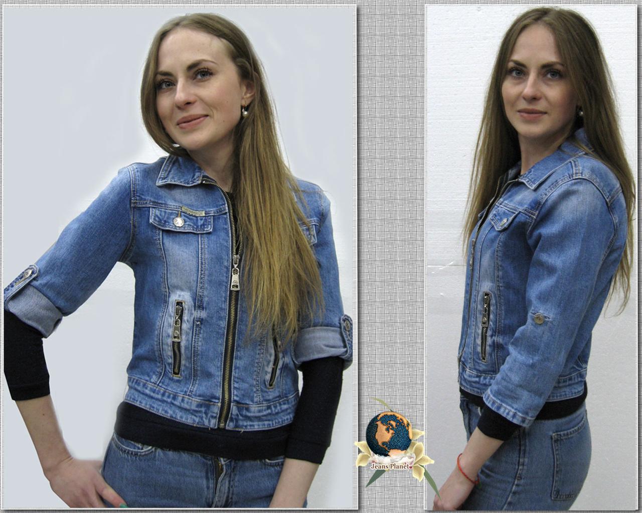 Куртка женская джинсовая короткая на замке короткий рукав