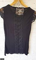 Черная кружевная футболка,модные женские майки ,белая футболка с рисунком ,женская футболка ,черная футболка