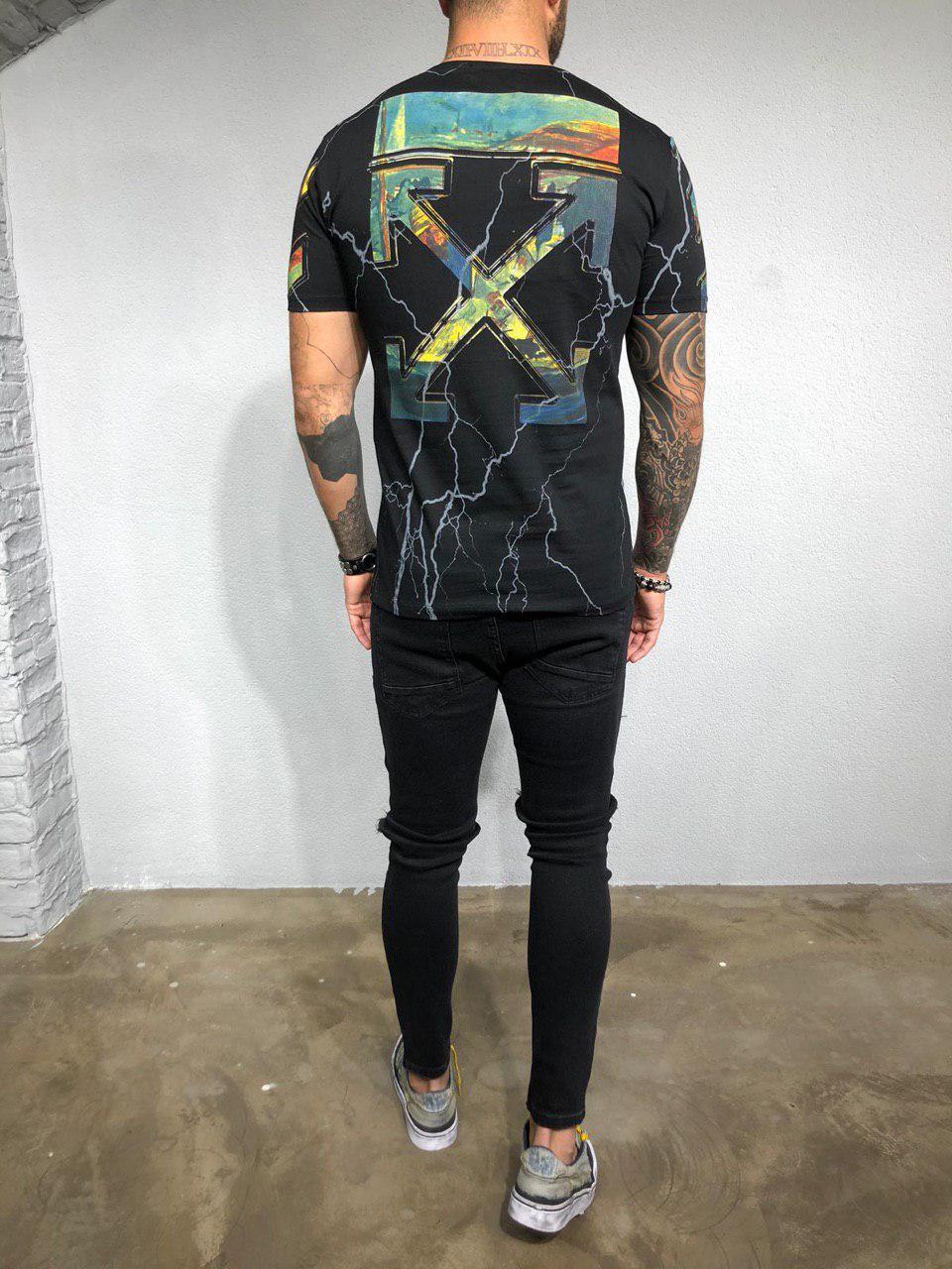 37d040689064 Мужская футболка Black Island x Off-White Lightning черная: продажа ...