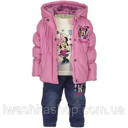 Демисезонный костюм на девочку, куртка, лонгслив, джинсы с Минни Маус, р. 86 на 2 года, Disney baby