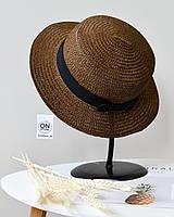 Модная соломенная летняя женская шляпа канотье темно коричневого цвета с бантом