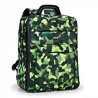Рюкзак школьный мальчику зеленый камуфляж городской под формат А4 два отдела Dolly 388 30х40х16 см