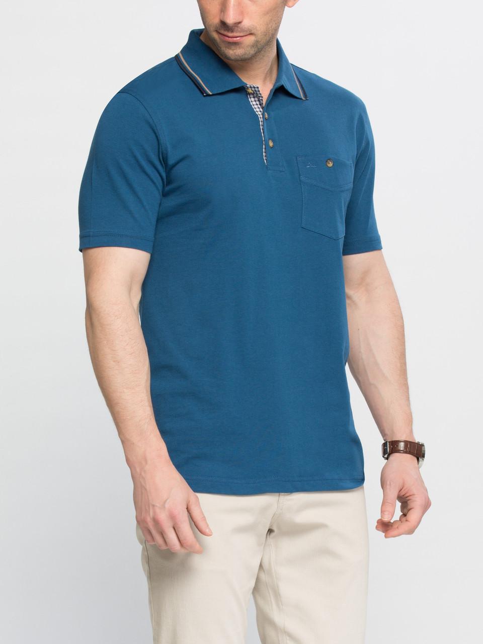 Синее мужское поло LC Waikiki / ЛС Вайкики с пуговицами цвета слоновой кости