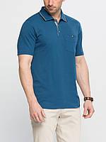 Синее мужское поло LC Waikiki / ЛС Вайкики с пуговицами цвета слоновой кости, фото 1