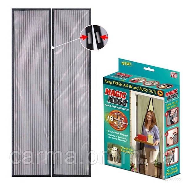 Дверная антимоскитная сетка Magic Mech на магнитах 100х210 см Черная