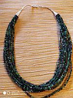 Ожерелье из натурального камня Эпидот, серебро 925