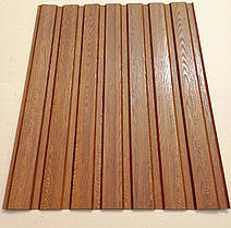 Профнастил с объемным рисунком  дерева Дуб 3D wood18DARK/8003, размер листа 1,5Х1,16м, фото 3