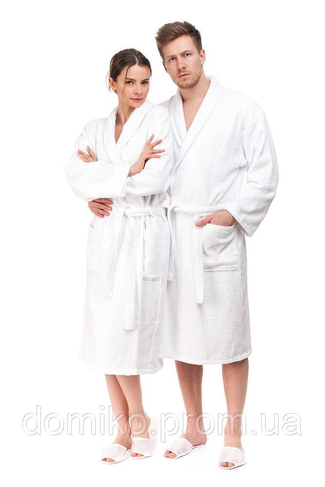 Халат махровый белый унисекс Турция размер M (48) хлопок 100 %