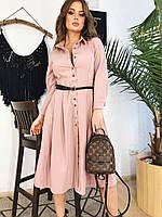 Платье рубашка бежевое, арт.1000