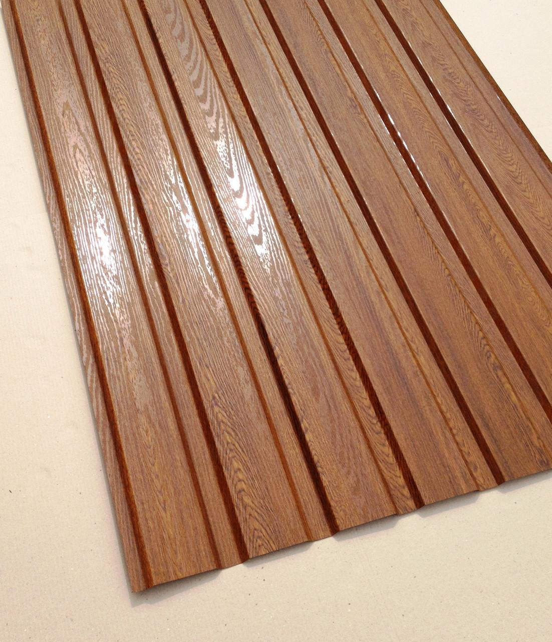 Профнастил с объемным рисунком  дерева Дуб 3D wood18DARK/8003, размер листа 2мХ1,16м