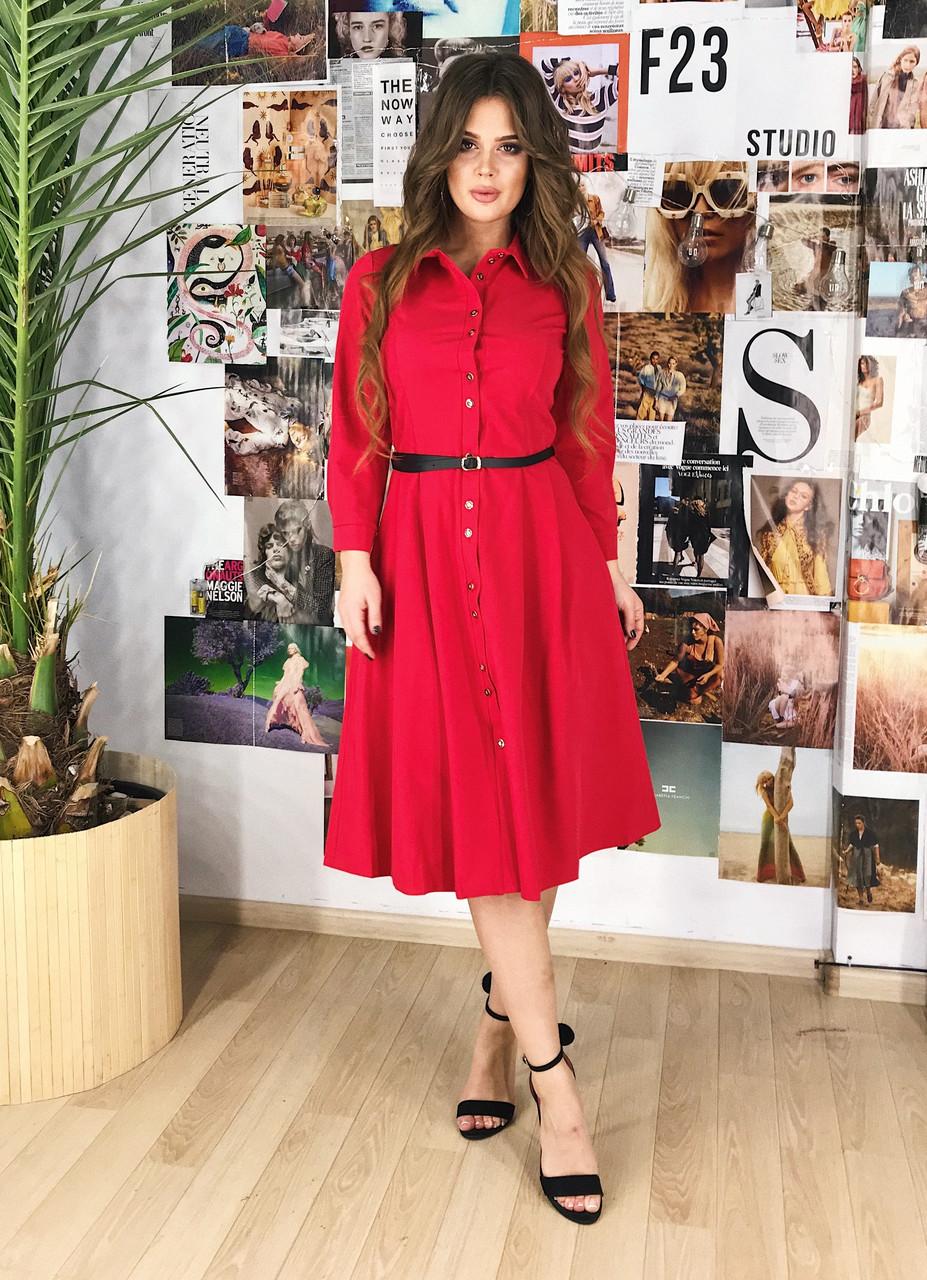 Платье-рубашка красное, арт.1000