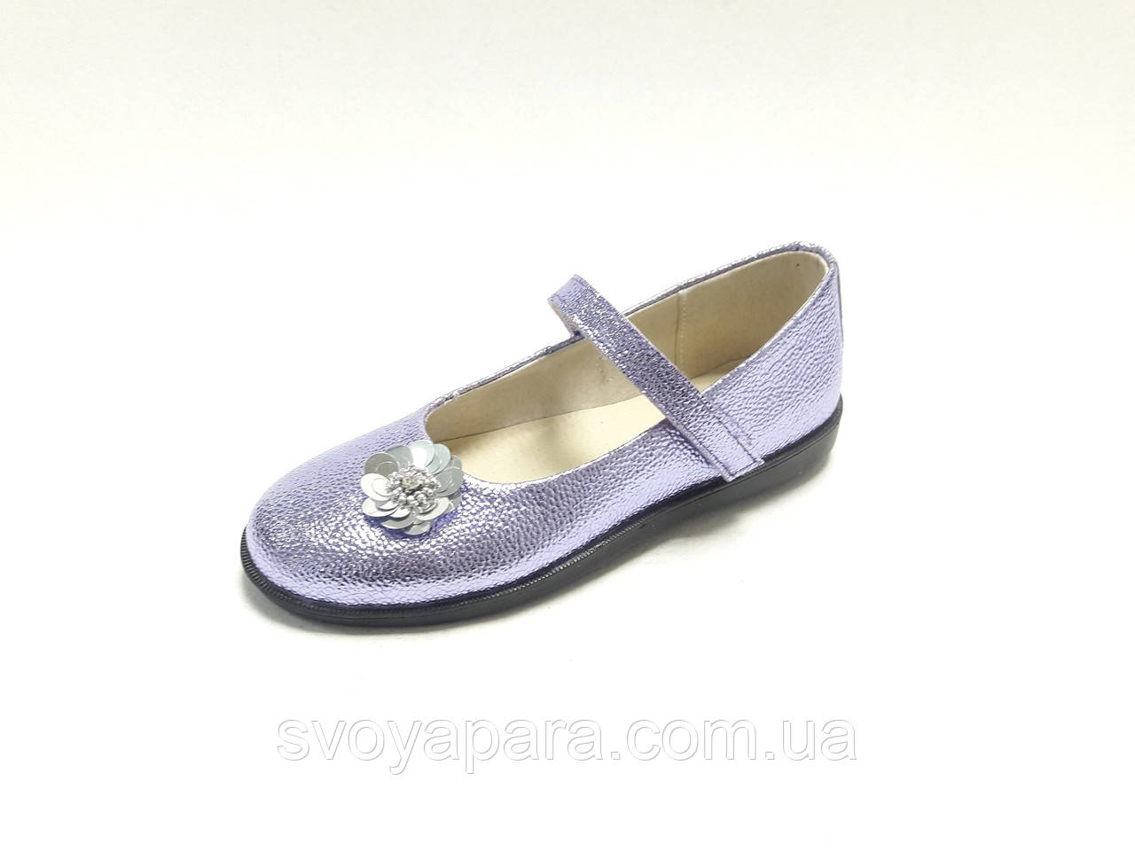 Туфли детские для девочки сиреневые кожаные (03045)