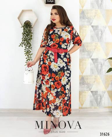 Платье летнее шифоновое женское, размер:58-60, фото 2