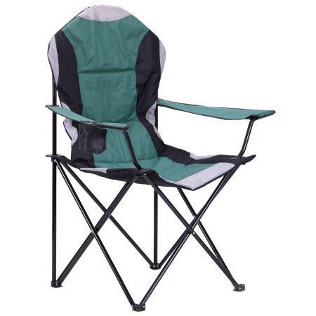 Складаний рибальський стілець XXL чорний каркас / темно-зелений колір оббивки, TM AMF