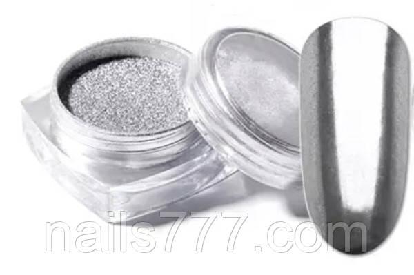 Втирка зеркальная Серебряная для ногтей в баночке 5гр, фото 2