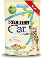 Cat Chow Kitten влажный корм консервы с индейкой и цуккини в желе для котят пауч 85 г,