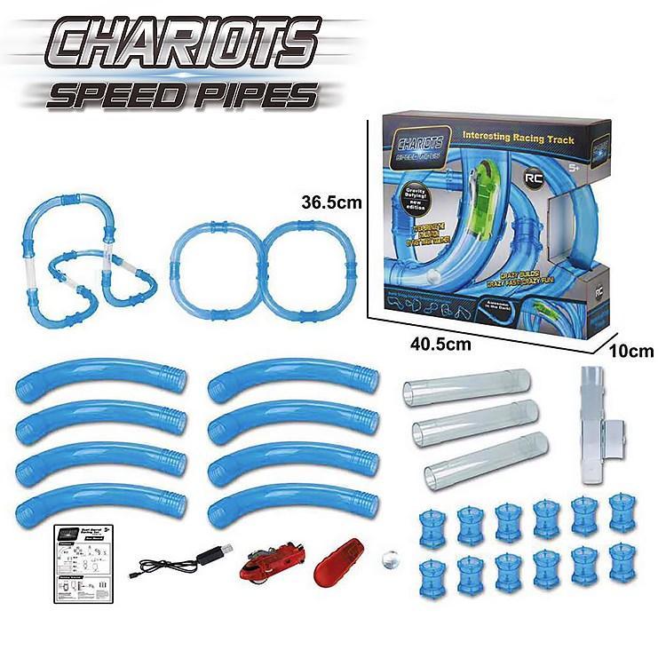 Светящиеся трубопроводные гонки CHARIOTS SPEED PIPES, трубопроводный автотрек, гоночный трек 37 деталей