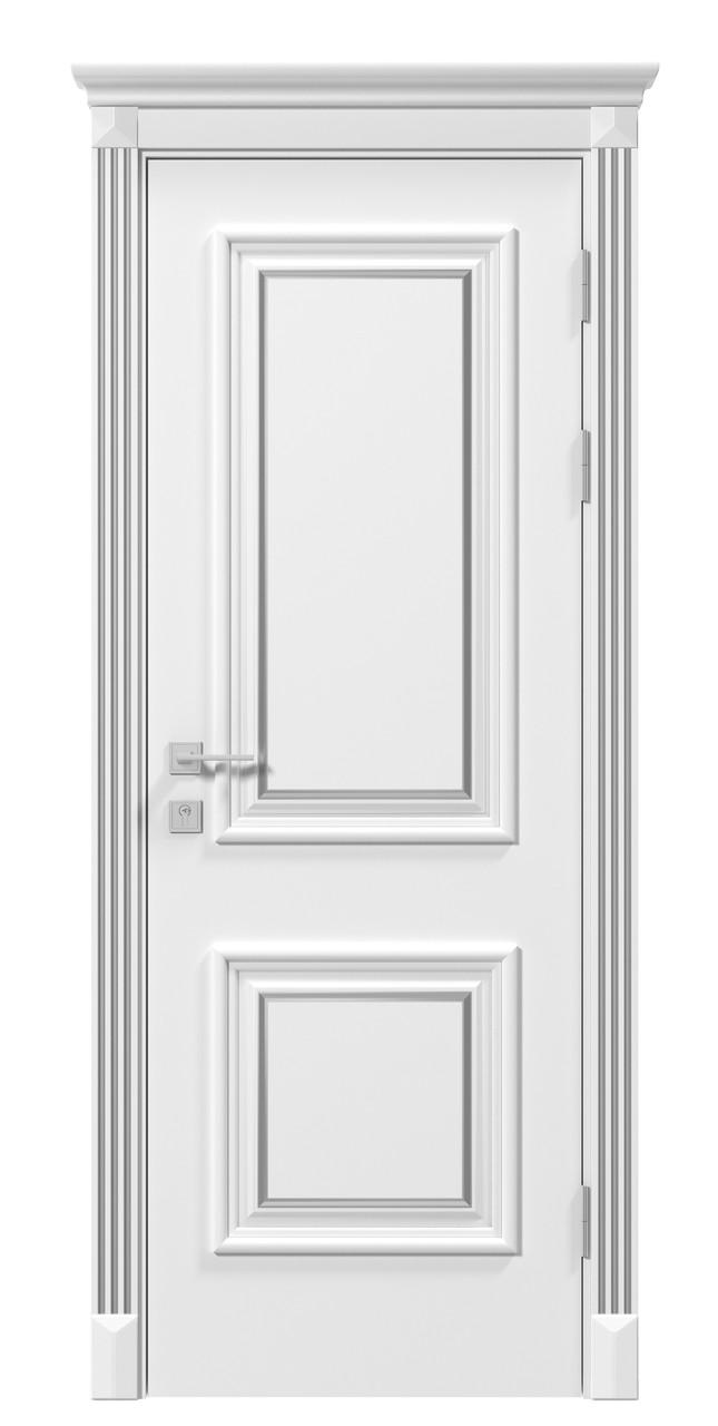 Двери LAURA патина - полотно+коробка+1 к-кт наличников+капитель, крашенные белый мат, серия SIENA