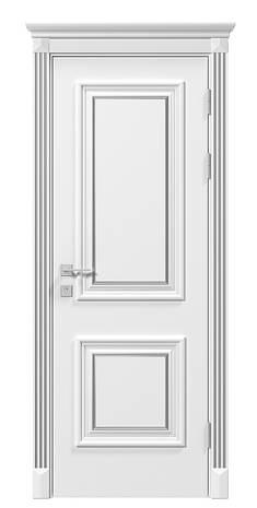 Двери LAURA патина - полотно+коробка+1 к-кт наличников+капитель, крашенные белый мат, серия SIENA, фото 2