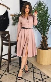 Платье-рубашка бежевое