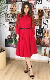 Платье-рубашка красное