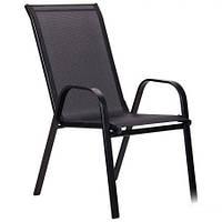 Металлический стул Puerto каркас черный, ткань сетка черная