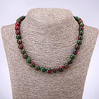 Бусы мозаичный камень разноцветный гладкий шарик d-10мм L-45см