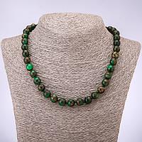 Бусы мозаичный камень зеленый гладкий шарик d-10мм L-45см