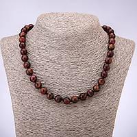 Бусы мозаичный камень бордовый гладкий шарик d-10мм L-45см
