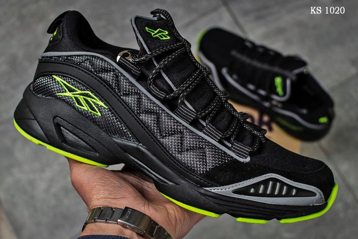 Мужские кроссовки Reebok DMX (черно/зеленые)