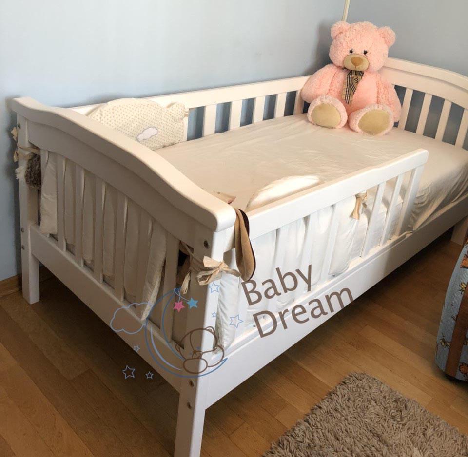 Детская кроватка с бортиками Baby Dream Konfetti белая