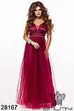Женское вечернее платье в пол Евросетка на атласном покладе Размер 42 44 46 В наличии 5 цветов, фото 2