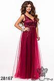 Женское вечернее платье в пол Евросетка на атласном покладе Размер 42 44 46 В наличии 5 цветов, фото 4