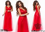 Женское вечернее платье в пол Евросетка на атласном покладе Размер 42 44 46 В наличии 5 цветов, фото 7