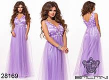 Женское вечернее платье в пол Евросетка на атласном покладе Размер 42 44 46 В наличии 5 цветов