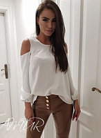 Шелковая блузка с открытыми плечами, фото 1
