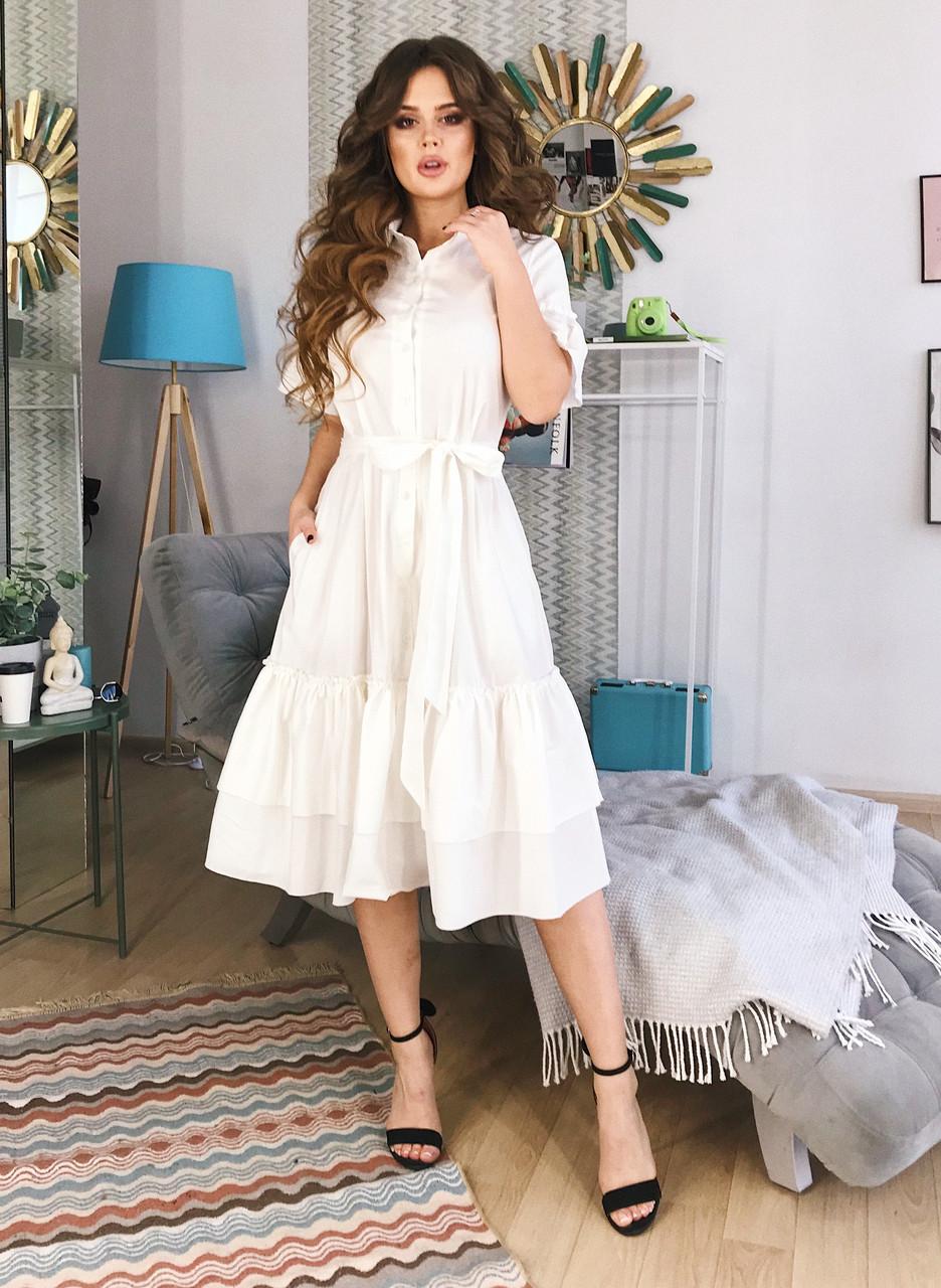 Платье-зефирка молочное, арт.1003