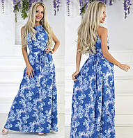 Вечернее цветочное платье в пол голубого цвета, фото 1