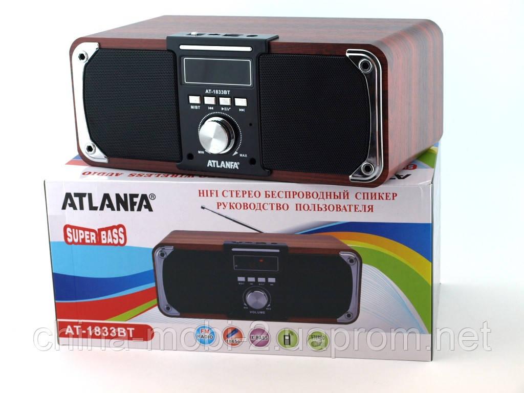Atlanfa AT-1833bt 12W, портативная колонка с Bluetooth FM и MP3, красное дерево, черная