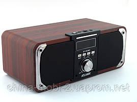 Atlanfa AT-1833bt 12W, портативная колонка с Bluetooth FM и MP3, красное дерево, черная, фото 3