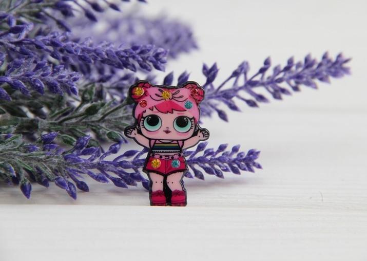"Кабошон плоский № 6 с камушками "" Куклы Lol : Рассвет "" розовая"