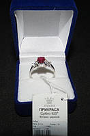Серебряное кольцо рубин 18