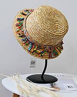Модная соломенная летняя женская шляпа канотье с разноцветной бахромой