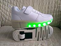 Тренд 2019 года! Хилисы! Светящиеся кроссовки ролики на колесиках р. 30 по 37