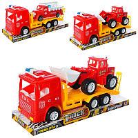 Трейлер автовоз, 1100-23-25 інерційний, транспорт, мікс видів, в блістері, 32-11-13 см.