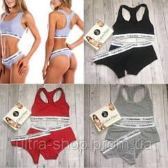 Женское нижнее белье, комплект тройка  (топ+стринги+шорты)