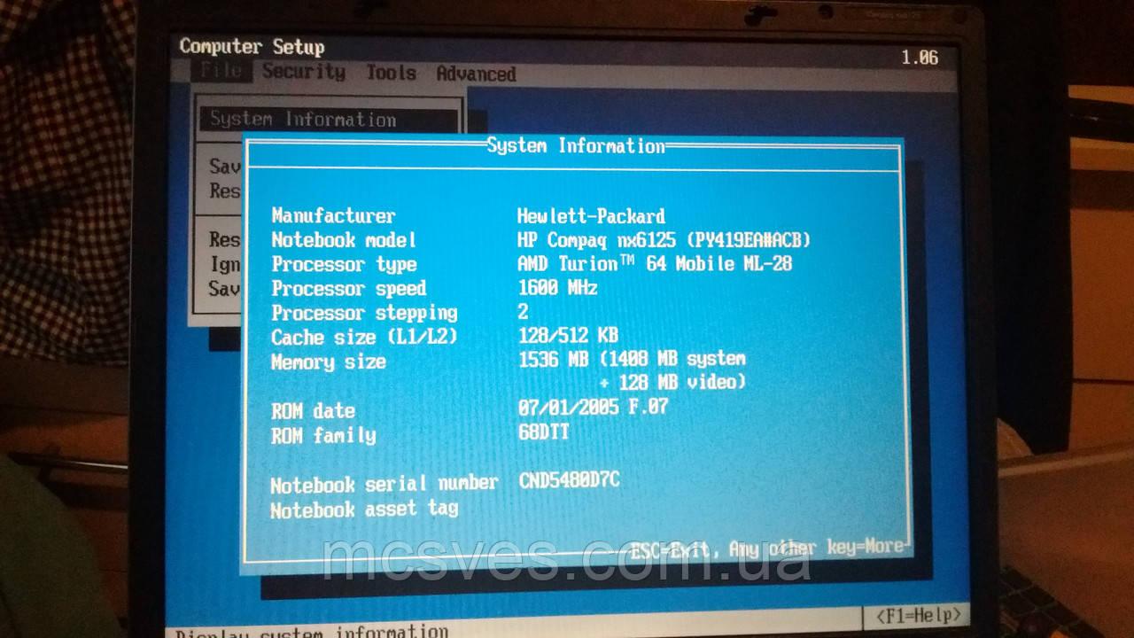 Ноутбук HP Compaq nx6125 AMD Turion 64 Ml-28 1.6 Ghz 1,5 Гб